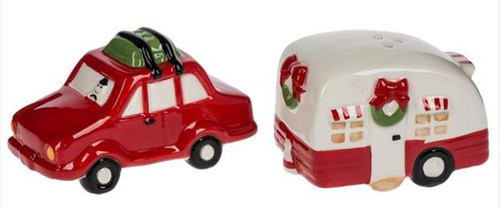 Red Car and Camper Christmas Holiday Salt and Pepper Shakers