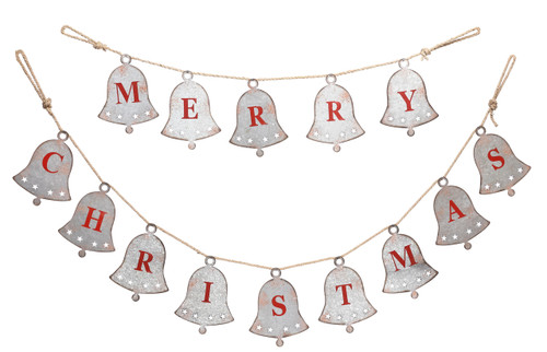 Bell Shaped Merry Christmas Wall Garland Galvanized Metal Set