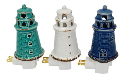 Coastal Lighthouses Night Lights Ceramic Teal White and Navy Set of 3