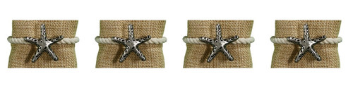 Starfish with Rope Napkin Rings Beachy Set of 4 Embossed Metal