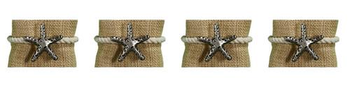 Park Designs Starfish with Rope Napkin Rings Set of 4 Embossed Metal