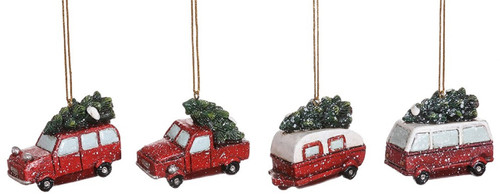 Special T Car Truck Van Camper with Trees Christmas Holiday Ornaments Set of 4