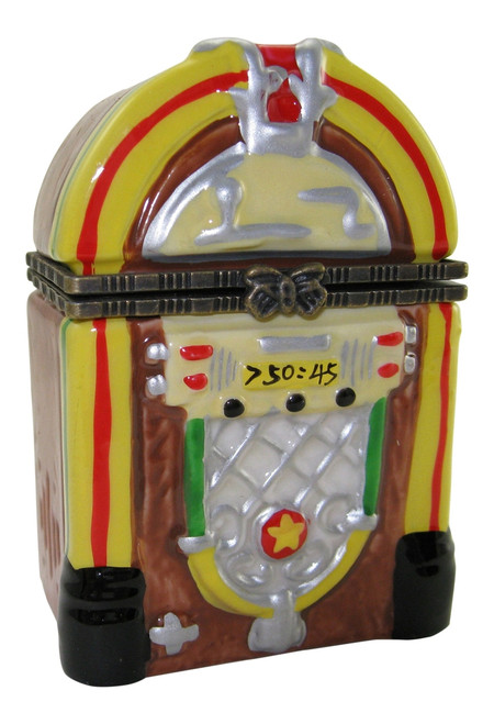 Jukebox Retro Look Music Record Player Porcelain Hinged Trinket Box
