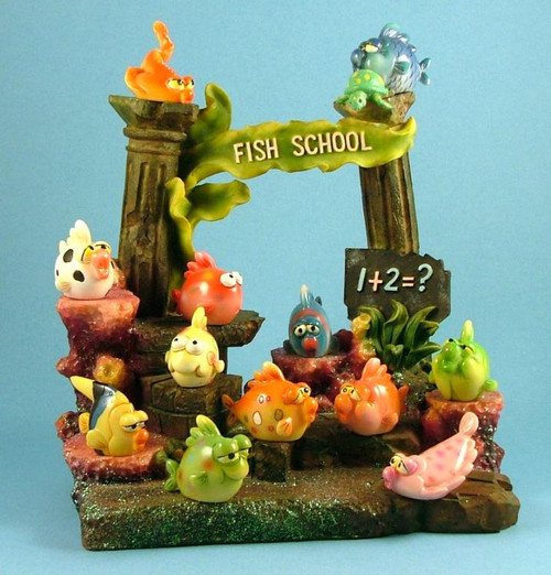 Reef Fish School Collectible Twelve Assorted Figurines with Display