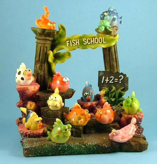 Reef Fish School Collectible Twelve Assorted Figurines with Display