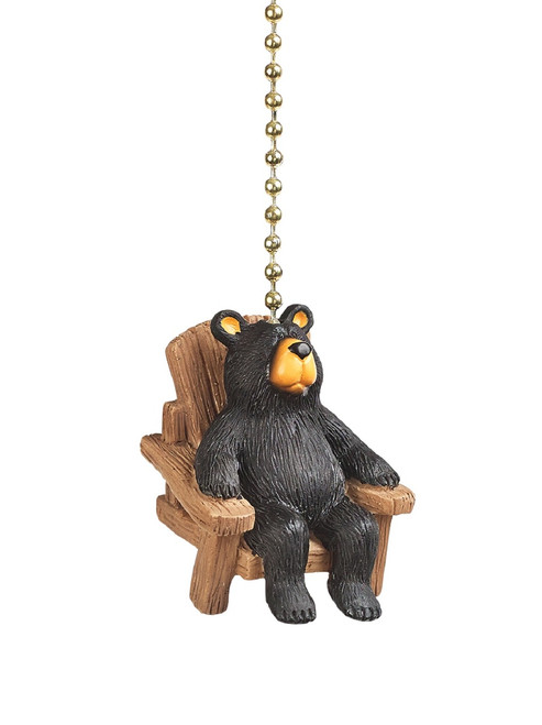 Clementine Design Bear in Chair Ceiling Fan Light Dimensional Pull Resin Brown