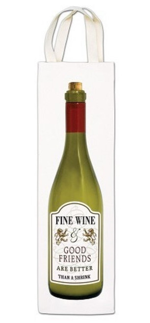 Alice's Cottage Fine Wine And Good Friends Wine Caddy Tote Gift Bag