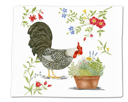 Alice's Cottage Black and White Rooster Flour Sack Kitchen Towel 36 Inches