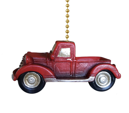 Clementine Design Old Pickup Truck Ceiling Fan Light Dimensional Pull Resin Red
