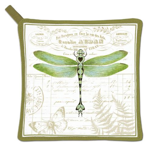 Alice's Cottage Green Dragonfly on Botantical Print Kitchen Potholder