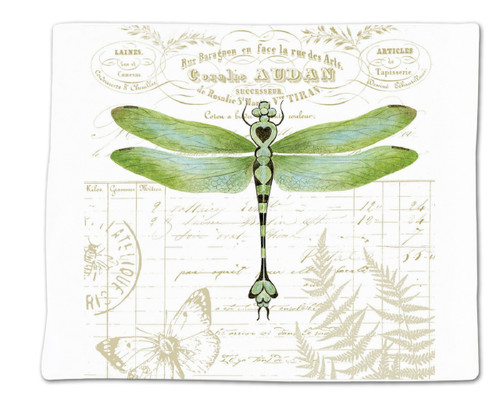 Alice's Cottage Green Dragonfly Flour Sack Kitchen Towel 36 Inches