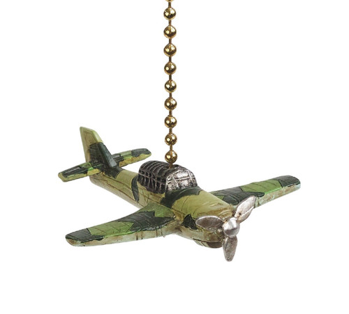 Clementine Design Fighter Plane Ceiling Fan Light Dimensional Pull Resin Green