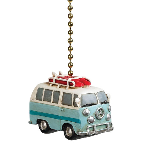 Clementine Design Beach Bus Van Ceiling Fan Light Dimensional Pull Resin Blue