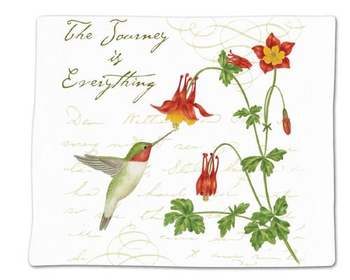 Alice's Cottage Hummingbird and Columbine Flowers Flour Sack Kitchen Towel