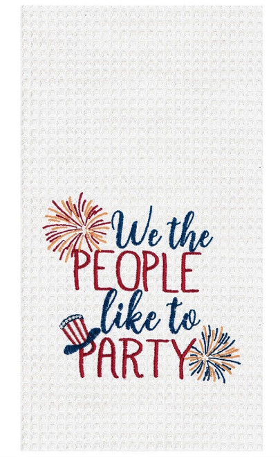 We the People Like to Party Firecrackers Waffle Weave Kitchen Dish Towel Cotton