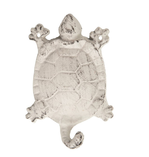 White Sea Turtle Single Wall Hook Painted Cast Iron Distressed Finish 5.5 Inches