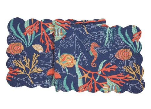 Bimini Island Tropical Fish Swimming in Coral Quilted Table Runner 51 Inches