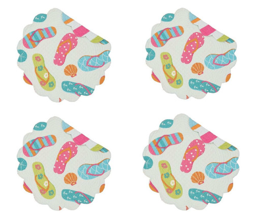 Flip Flop Life Round Quilted Placemats Set of 4 Cotton
