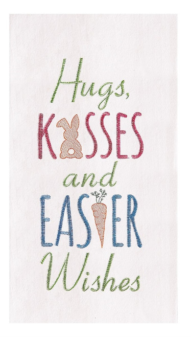 Hugs Kisses and Easter Wishes Embroidered Flour Sack Kitchen Towel
