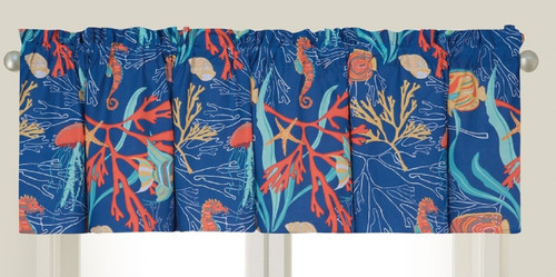 Bimini Island Tropical Fish Swimming in Coral Window Valance 72 Inches