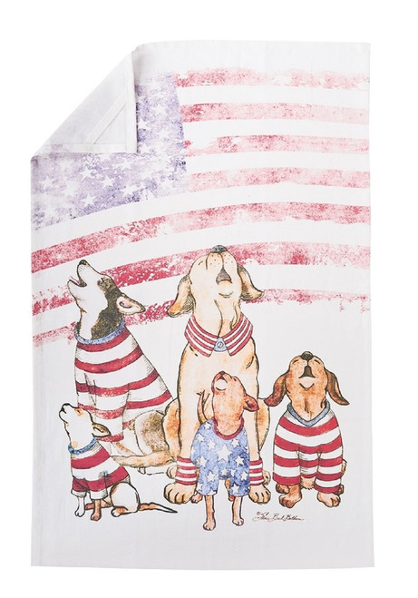 Puppy Dog Howlers for Freedom Printed Flour Sack Kitchen Dish Towel