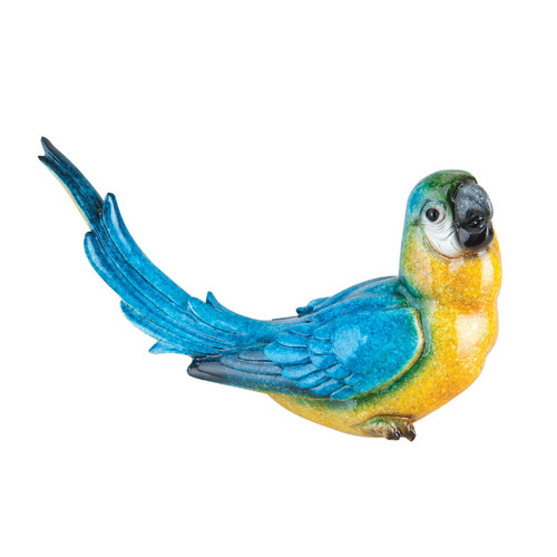 Blue Macaw Tabletop Figurine Blue and Yellow 8.75 Inches Resin