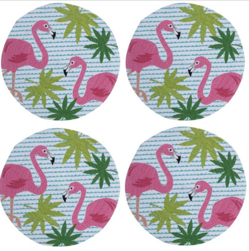 Flamingos and Palm Fronds Round Braided Placemats Set of 4 Kitchen or Dining
