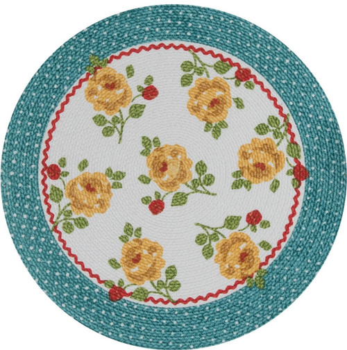 Country Fresh Yellow Rose Floral Round Braided Placemats Set of 4 Kitchen  Dining