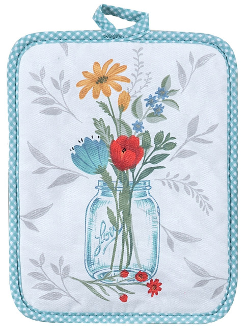 Blooming Thoughts Floral Arrangement Kitchen Potholder Cotton