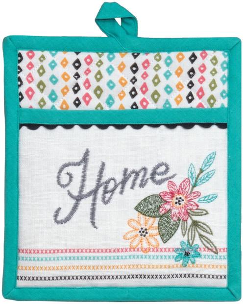 Home Comfort Flowers Embroidered Kitchen Pocket Oven Mitt Cotton