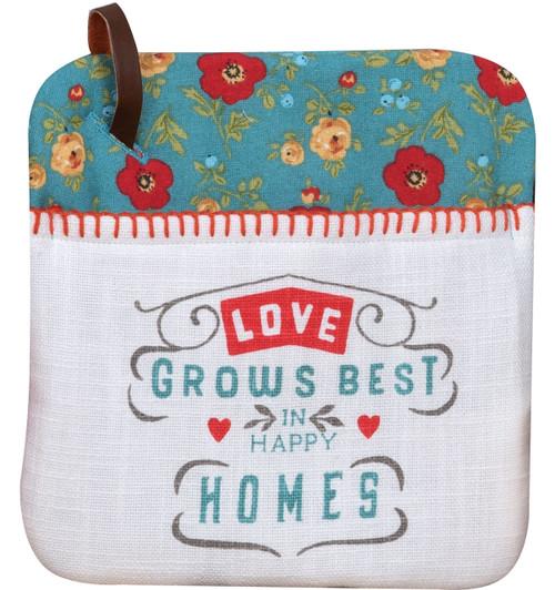Country Fresh Love Grows Best in Happy Home Kitchen Pocket Mitt