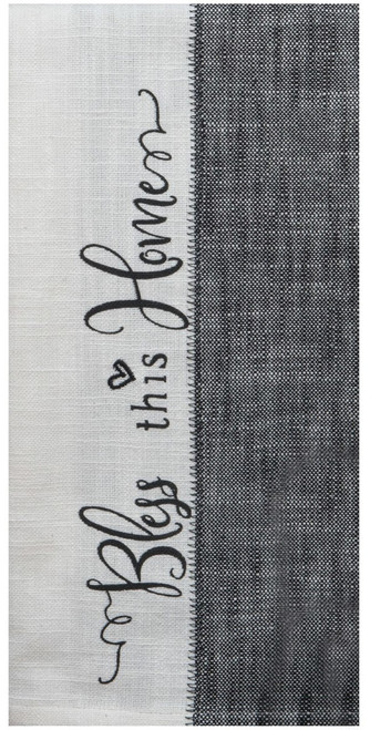Black and White Farmhouse Bless This Home Kitchen Tea Towel Cotton