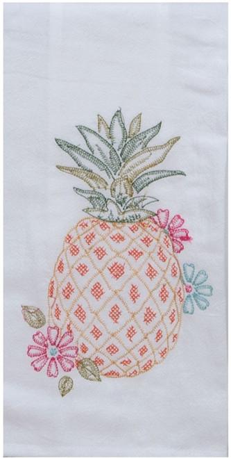 Pineapple Embroidered Flour Sack Kitchen Towel Cotton