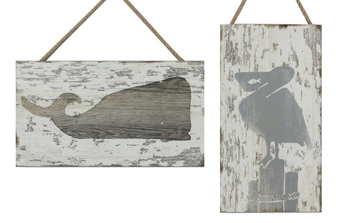 Pelican on Piling and Whale Beach Wood Box Sign 12 Inches Set of 2