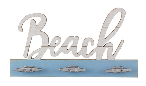 Beach Cut Out With Triple Wall Hooks Wood and Cast Iron 15.75 Inches