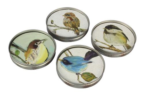 Backyard Song Birds Mason Jar Lid Shape Drink Coasters Set of 4 Wood and Metal