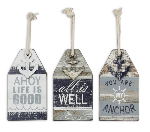 Shaped Boat Buoy Wall Signs Set of 3 Painted Wood