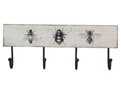 Bees Painted Wood Wall Hooks 16.25 Inches