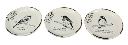 Song Birds With Inspiring Sentiments Trinket Dishes Set of 3 Ceramic 4.5 Inches