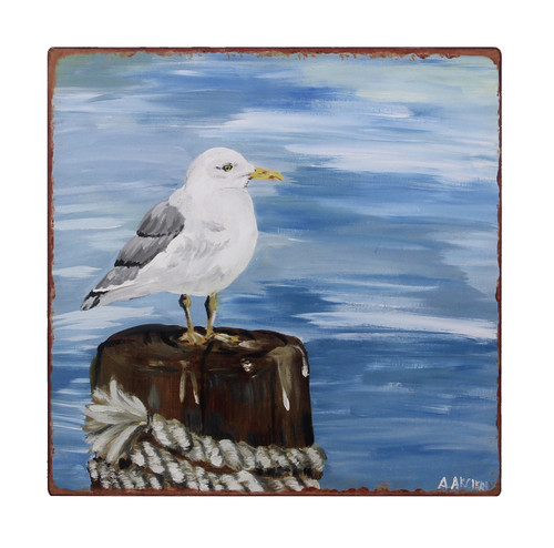 Seagull Perched on Pier Antiqued Finish Coastal Wall Art Iron 12 Inches