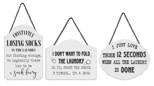 Losing Socks Don't Want to Fold Laundry is Done Wall Signs Set of 3 Metal