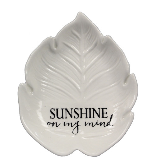 Sunshine On My  Mind Shaped Palm Leaf Trinket Dish Embossed White Ceramic