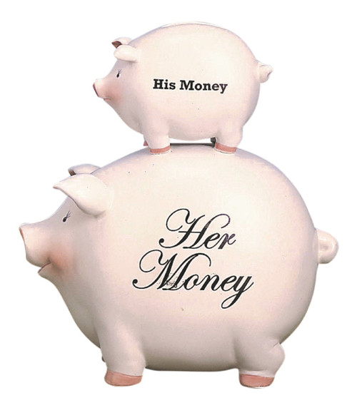His Money and Her Money Stacked Pigs Piggy Bank Ceramic 8.5 Inches