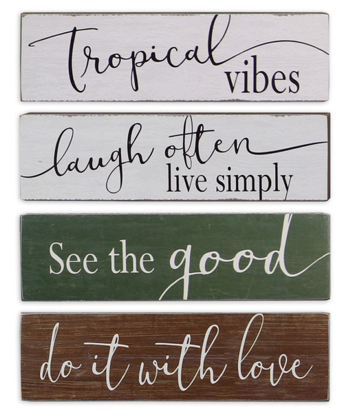 Love Often Tropical Vibes See Good Laugh Often 7.25 Inches Wood Blocks Set of 4