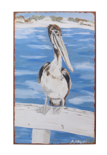 Pelican Perched on Pier Railing Coastal Wall Art Iron 18 Inches