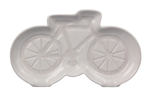 Bicycle Shaped Trinket Dish or Spoon Rest Embosed Ceramic