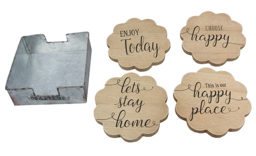 Stay Home Choose Happy Enjoy Happy Place Wood Drink Coasters Tin Caddy Set of 5