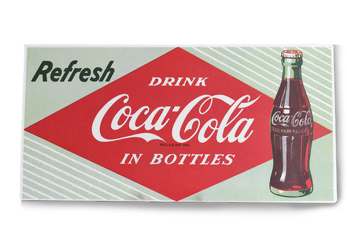 Refresh Drink Coca-Cola in Bottles Coke Wall Sign Tin Licensed 18 Inches