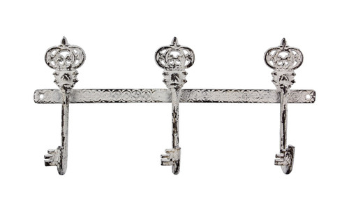 Majestic Crown Key Shaped Triple Wall Hooks Painted Cast Iron 13 Inches