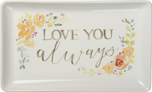 Love You Always Yellow Flowers Trinket Tray Dish Stoneware 6.75 Inches